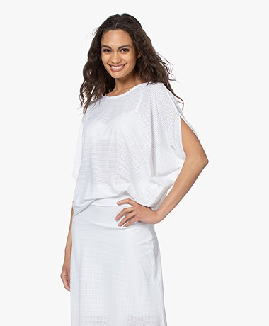 JapanTKY Taly Geperforeerd Oversized T-shirt - Wit