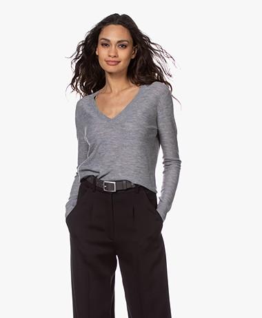 Joseph Pure Cashmere V-neck Sweater - Grey Melange