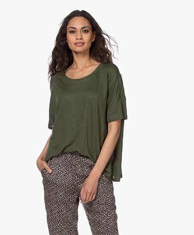 Majestic Filatures Loose-fit Linnen T-shirt - New Kaki