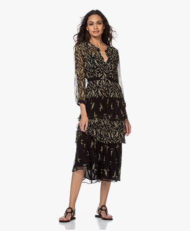 ba&sh Morris Crepe Chiffon Tiered Dress - Black