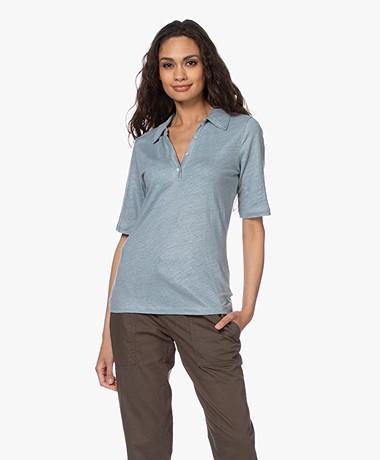 by-bar Pollar Linnen Jersey Polo T-shirt - Cloud