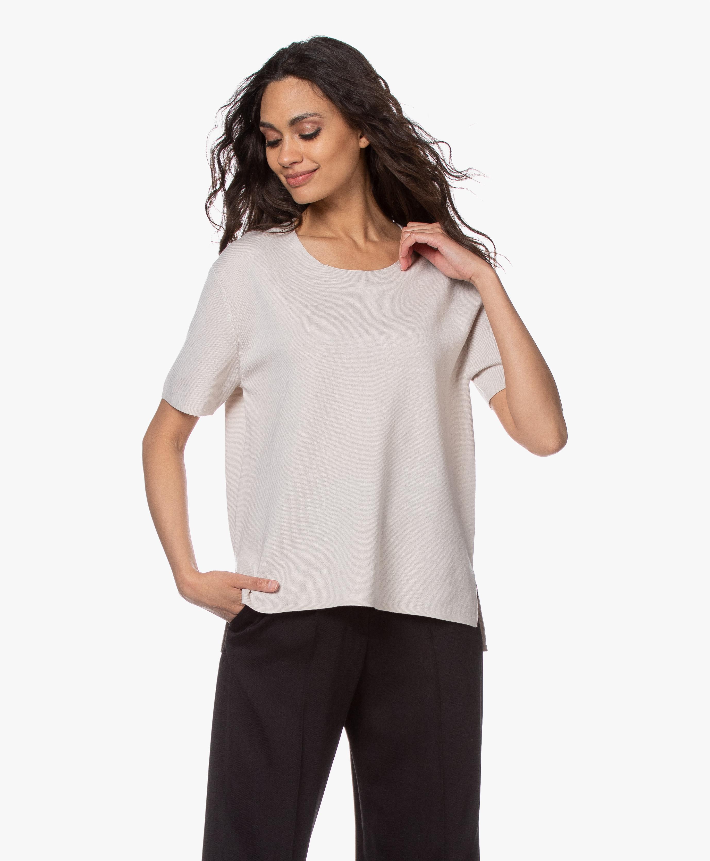 Filippa K Rose Merino Short Sleeve Sweater Ivory 26896