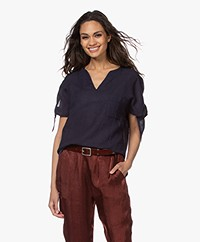 Pomandère Short Sleeve Blouse in Linen Blend - Navy