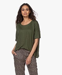 Majestic Filatures Loose-fit Linnen T-shirt - New Kaki