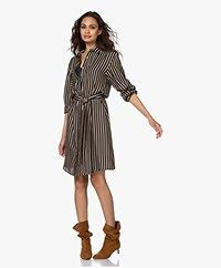 Plein Publique La Copine Stripe Print Shirt Dress - Black/Beige