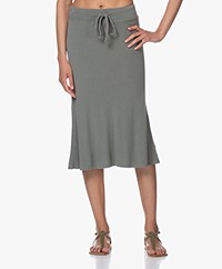 Majestic Filatures French Terry Midi Skirt - Khaki Army