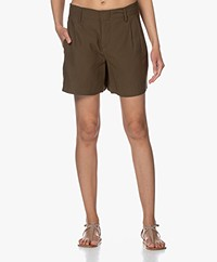 Drykorn Asset Viscose Blend Pleated Shorts - Army