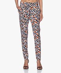 JapanTKY Yogi Travel Jersey Pants with Print - Olive/Brique Dessin