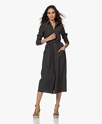 JapanTKY Fenya Fit & Flare Travel Jersey Shirt Dress - Anthracite