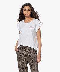 by-bar Bar Cotton T-shirt with Embroidered Detail - Bright White