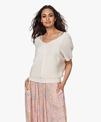 by-bar Suze Cotton Blend Short Sleeve Pullover - Off-white