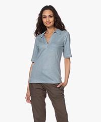 by-bar Pollar Linen Jersey Polo T-shirt - Cloud