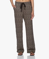 Plein Publique Le Paris Stippenprint Viscose Broek - Zwart