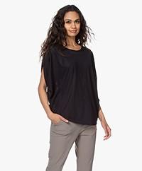 JapanTKY Taly Geperforeerd Oversized T-shirt - Zwart