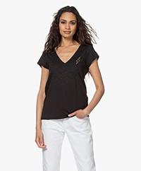 Zadig & Voltaire Cruz Glitter V-hals T-shirt - Zwart