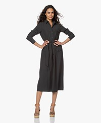 JapanTKY Fenya Fit & Flare Travel Jersey Shirt Dress - Anthracite