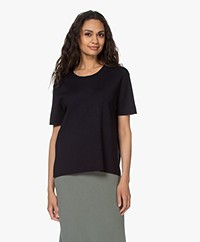 Filippa K Rose Merino Short Sleeve Sweater - Navy