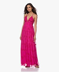 ba&sh Masha Chiffon Printed Maxi Dress - Fuchsia