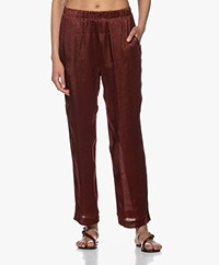 forte_forte Moiré Satin Loose-fit Pants - Chocolate