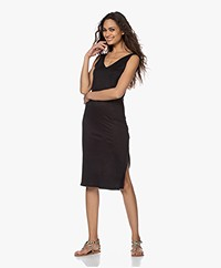 Majestic Filatures Linen Jersey V-neck Dress - Black