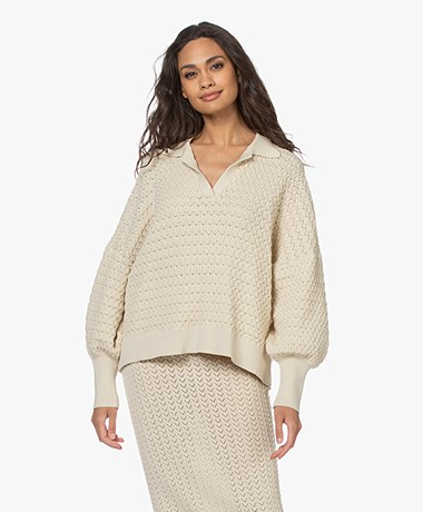 I Love Mr Mittens Knitted Cotton Polo Sweater - Ivory