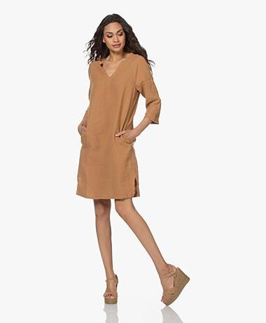 no man's land Linen Slit Neck Dress - Toffee