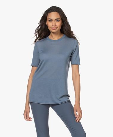 Joseph Cashair Knitted Cashmere T-shirt - Blue Steel
