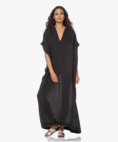 SU Paris Viva Viscose-Silk Crepe Kaftan - Black