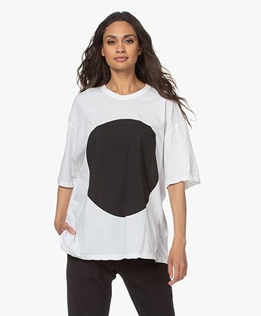 bassike Oversized Dot Print T-shirt - Wit/Zwart