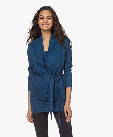 Majestic Filatures Jersey Linen Blend Cardigan with Tie-belt - Indigo