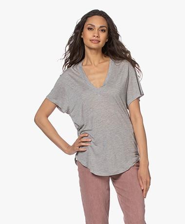 IRO Ramaza Modal Blend V-neck T-shirt - Mixed Grey