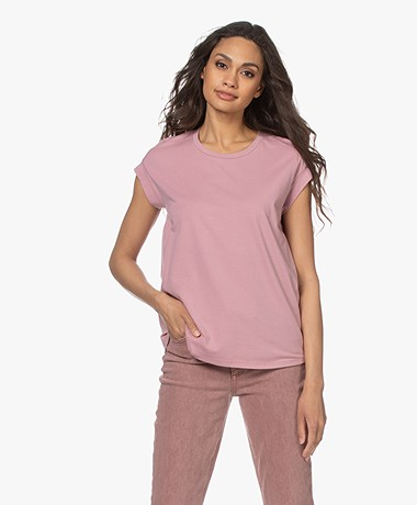 Repeat Cotton Blend Round Neck T-shirt - Gloss