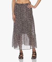 no man's land Cotton Batiste Print Skirt - Soft Slate