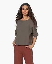 Woman by Earn Merel Short Sleeve Linen Blouse - Khaki