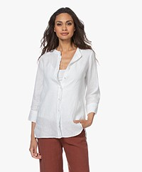 no man's land Pure Linen Blouse - White