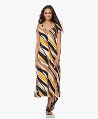 no man's land Jersey Fit & Flare Print Jurk - Toffee