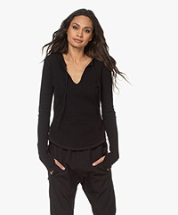 Bassike Rib jersey Long Sleeve with Thumb Holes - Black