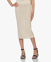 I Love Mr Mittens Knitted Cotton Midi Skirt - Ivory