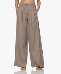 Drykorn Elate Houndstooth Pleated Pants - Warm Sand