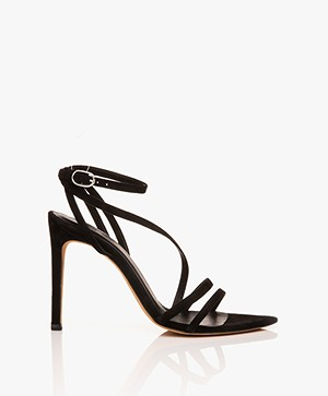 IRO Romy Suede Strap Heeled Sandals - Black