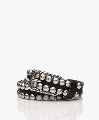 Zadig & Voltaire Sea Leather Belt with Studs - Black