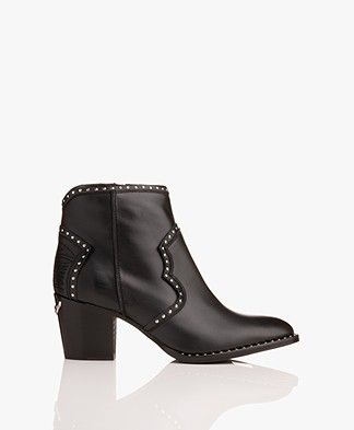 Zadig & Voltaire Molly Leather Ankle Boots with Studs - Black