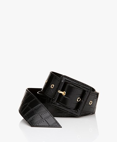 By Malene Birger Rubin Leather Croco Belt - Black