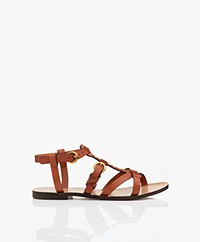 Jerome Dreyfuss Ulla Strappy Leather Sandals - Brown/Gold