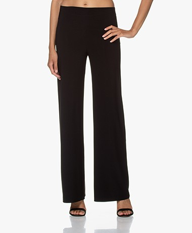Norma Kamali Tech Jersey Wide Leg Pants - Black