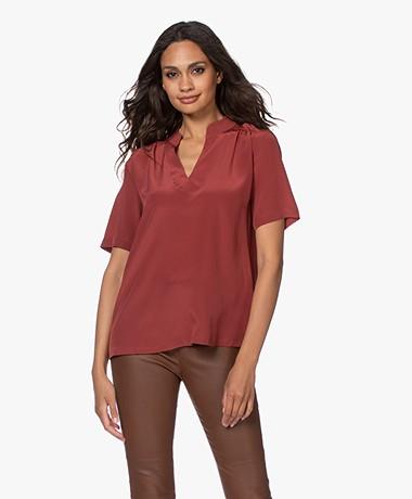 Repeat Silk Short Sleeve Blouse - Terracotta