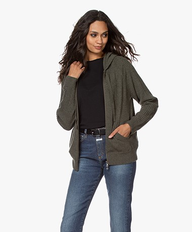 Repeat Luxury Fine Knit Cashmere Hooded Cardigan - Khaki
