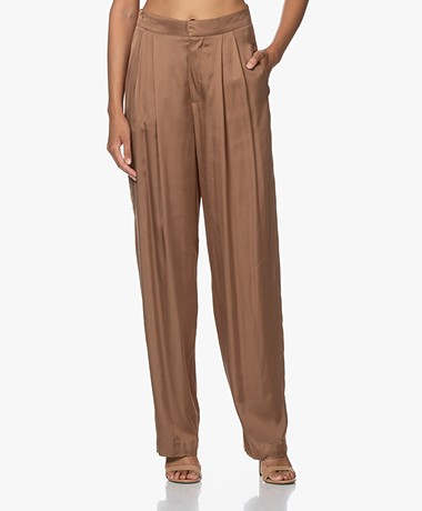 Resort Finest Fico Loose-fit Satijnen Pantalon - Camel
