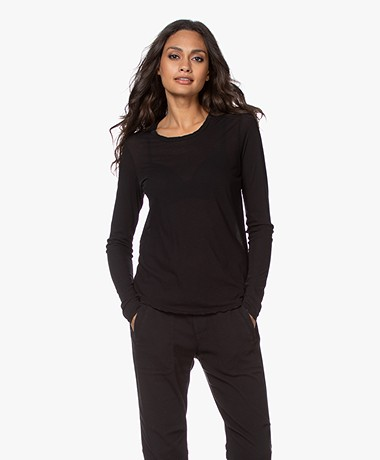 James Perse Long Sleeve in Extrafine Jersey - Black