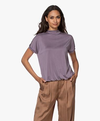 no man's land Cupro Jersey Colshirt - Soft Violet